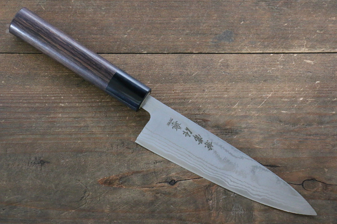 Kanetsune Blue Steel No.2 Damascus Petty-Utility Japanese Knife 135mm with Shitan Rosewood Handle