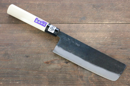 Kanetsune Blue Steel No.2 Kurouchi Nakiri Japanese Knife 165mm Magnolia Handle - Japanny - Best Japanese Knife