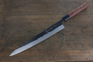 Yoshimi Kato Blue Super Clad Kurouchi Sujihiki Japanese Chef Knife 270mm Honduras Rosewood Handle