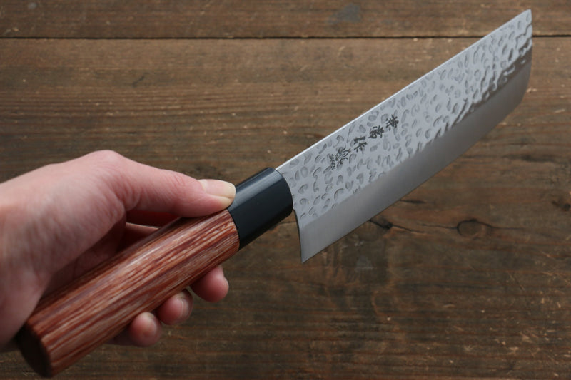 Kanetsune DSR-1K6 Hammered Nakiri Japanese Knife 165mm Red Pakka wood Handle - Japanny - Best Japanese Knife