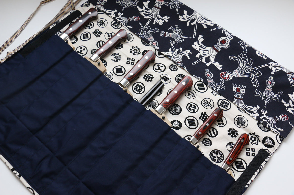 Japanese Style Knife Roll Konhikeshi-U-Shirokamon 7 Pockets