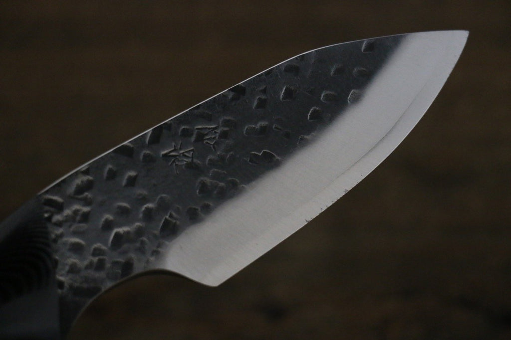 Takeshi Saji Blue Super Hunter knife 85mm with Black Micarta