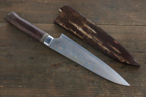 Takeshi Saji Blue Steel No.2 Colored Damascus Gyuto Japanese Chef Knife 180mm with Cherry Blossoms Handle