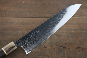 Takeshi Saji R2/SG2 Mirrored Damascus Gyuto Japanese Chef Knife 240mm with Ebony with Double Baffalo Handle