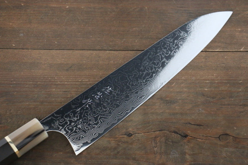 Takeshi Saji R2/SG2 Mirrored Damascus Gyuto Japanese Chef Knife 240mm with Ebony with Double Baffalo Handle - Japanny - Best Japanese Knife