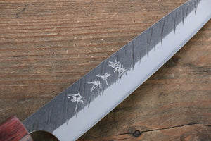 Yu Kurosaki Fujin Blue Super Hammered Damascus Petty-Utility Japanese Knife 150mm with Keyaki  (Japanese Elm) Handle
