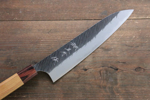 Yu Kurosaki Fujin Blue Super Hammered Damascus Gyuto Japanese Knife 210mm with Keyaki  (Japanese Elm) Handle