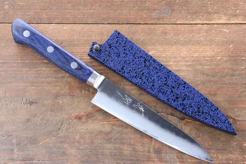 Seisuke VG10 33 Layer Damascus Petty-Utility Japanese Knife 135mm with Blue Pakka wood Handle with Saya - Japanny - Best Japanese Knife