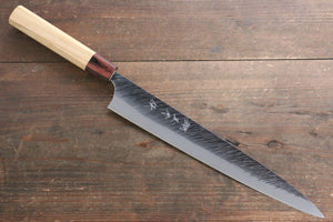 Yu Kurosaki Fujin Blue Super Hammered Damascus Sujihiki Japanese Knife 270mm with Keyaki  (Japanese Elm) Handle