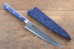 Seisuke Molybdenum Petty-Utility Japanese Knife 120mm with Blue Pakka wood Handle with Saya