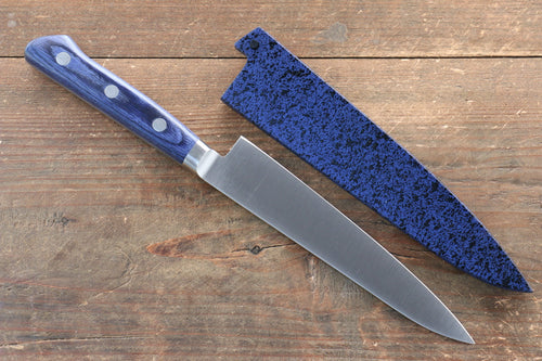 Seisuke Molybdenum Petty-Utility Japanese Knife 120mm with Blue Pakka wood Handle with Saya - Japanny - Best Japanese Knife
