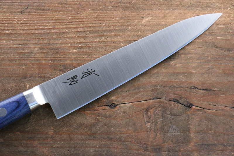 Seisuke Molybdenum Petty-Utility Japanese Knife 120mm Blue Pakka wood Handle with Sheath - Japanny - Best Japanese Knife
