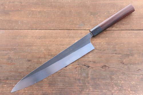 Ogata R2/SG2 Kurouchi Black Finished Sujihiki Japanese Knife 240mm with Shitan Handle - Japanny - Best Japanese Knife