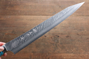 Yu Kurosaki Fujin SRS13 Hammered Damascus Sujihiki Japanese Knife 270mm with Turquoise Handle