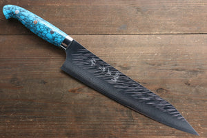 Yu Kurosaki Fujin SRS13 Hammered Damascus Gyuto Japanese Knife 240mm with Turquoise Handle
