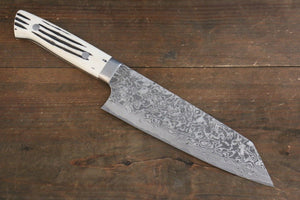 Takeshi Saji R2/SG2 Black Damascus Bunka Japanese Chef Knife 180mm with Bone Handle