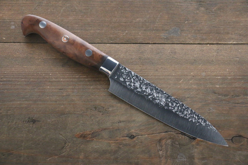 Yu Kurosaki Shizuku R2/SG2 Hammered Petty Japanese Chef Knife 130mm with Chinese Quince Handle - Japanny - Best Japanese Knife