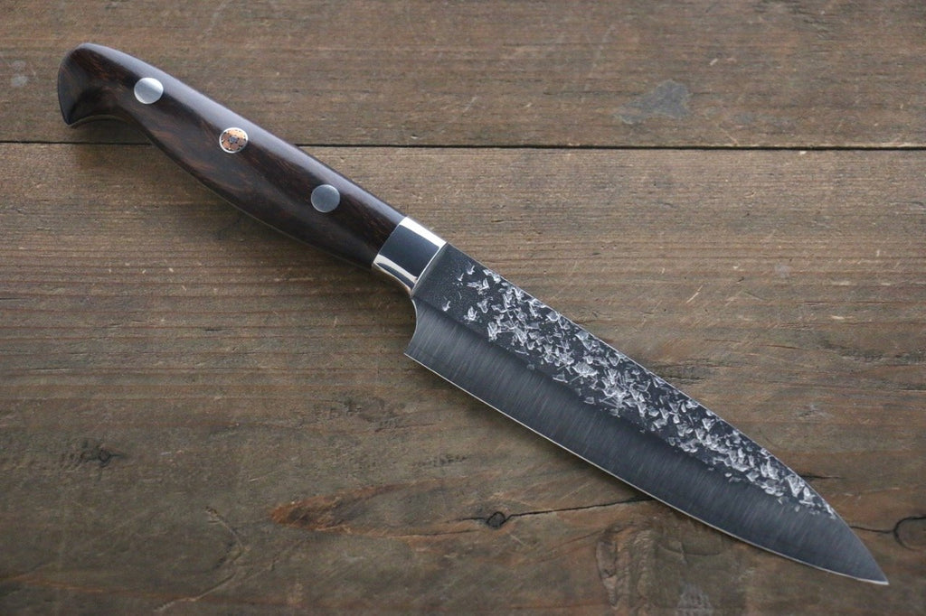 Kurosaki Shizuku R2/SG2 Hammered Pettty Japanese Chef Knife 130mm with Iron Wood Handle