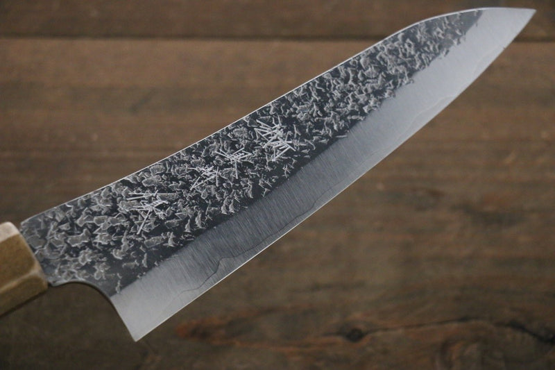 Yu Kurosaki R2/SG2  Hammered Small Santoku Japanese Chef Knife 160mm with lacquered Handle - Japanny - Best Japanese Knife