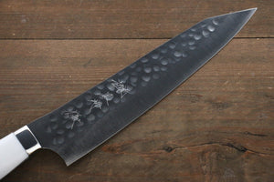 Yu Kurosaki R2/SG2 Hammered Kiritsuke Gyuto Japanese Chef Knife 210mm with White Stone Handle