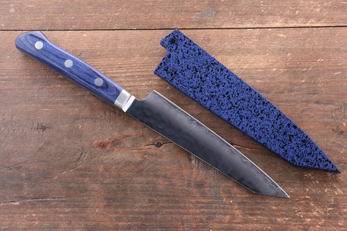 Seisuke AUS10 Hammered Kiritsuke Petty-Utility Japanese Knife 140mm Blue Pakka wood Handle with Sheath - Japanny - Best Japanese Knife