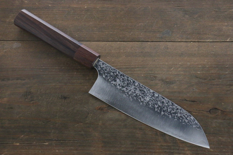 Yu Kurosaki Shizuku R2/SG2 Hammered Santoku Japanese Chef Knife 165mm with Shitan Handle - Japanny - Best Japanese Knife