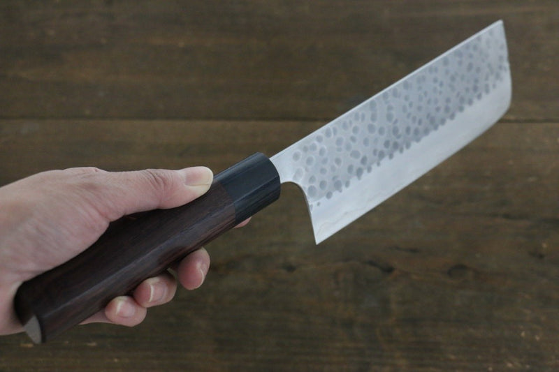 Yoshimi Kato Silver Steel No.3 Hammered Nakiri Japanese Chef Knife 165mm - Japanny - Best Japanese Knife