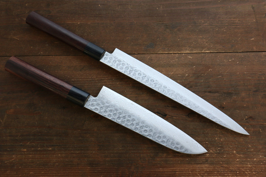 Sakai Takayuki 45 Layer Damascus Japanese Chef's Knife Sujihiki 240mm & Santoku 180mm Set with Shitan Handle
