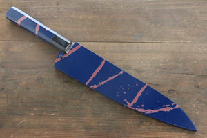 Sakai Takayuki 45 Layer Damascus Hammered Gyuto Japanese Chef Knife 240mm Blue Lacquered Handle With Saya