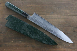 Sakai Takayuki 45 Layer Damascus Hammered Gyuto Japanese Chef Knife 240mm Green Lacquered Handle With Saya