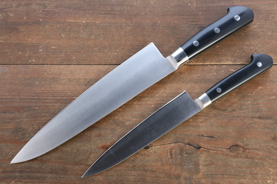 Iseya Molybdenum Steel Petty Knife 150mm & Gyuto Knife 210mmwith Black Micarta handle Set (Ferrel : Stainless Steel)