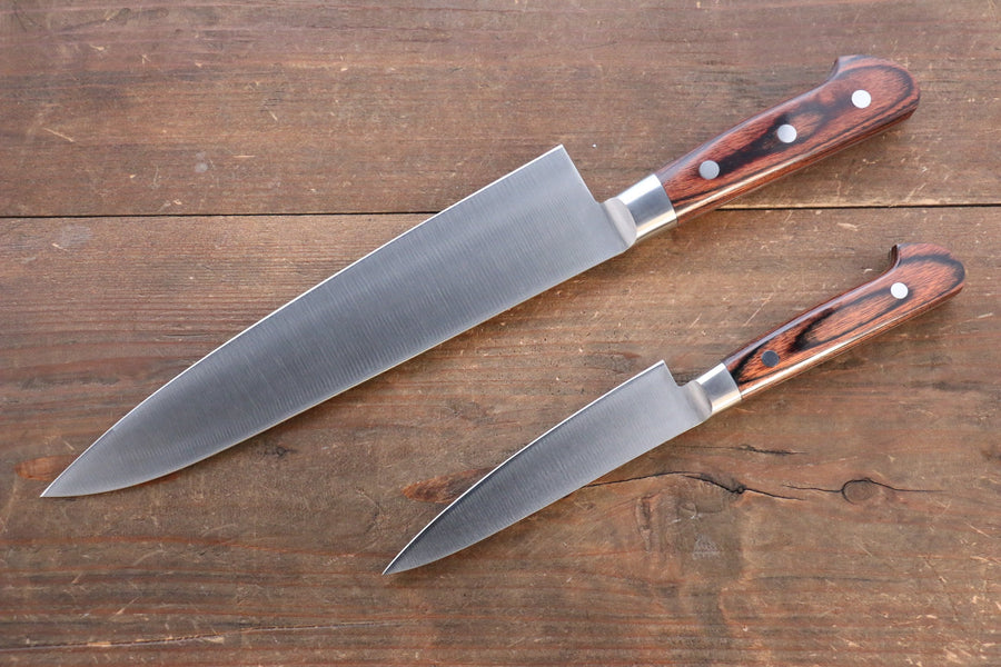 Iseya Molybdenum Steel Petty Japanese Chef Knife 120mm & Gyuto Knife 210mm with Mahogany Packer wood Handle Set