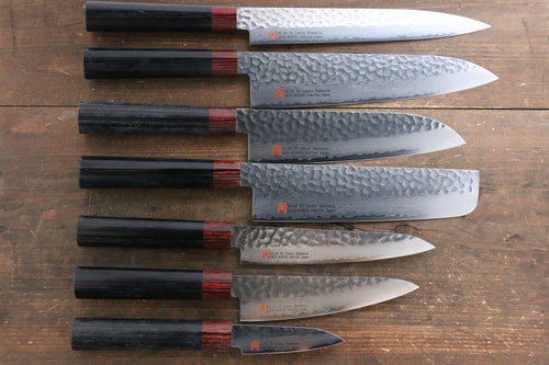 Iseya VG10 33 Layer Damascus Japanese Petty 80mm, Petty 150mm, Santoku, Small Santoku, Gyuto, Nakiri & Sushi Chef Knife 210mm Set - Japanny - Best Japanese Knife