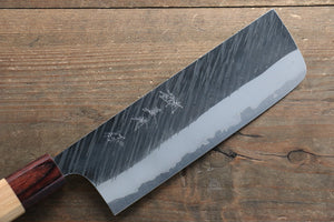 Yu Kurosaki Fujin Blue Super Hammered Damascus Nakiri Japanese Knife 165mm Keyaki (Japanese Elm) Handle