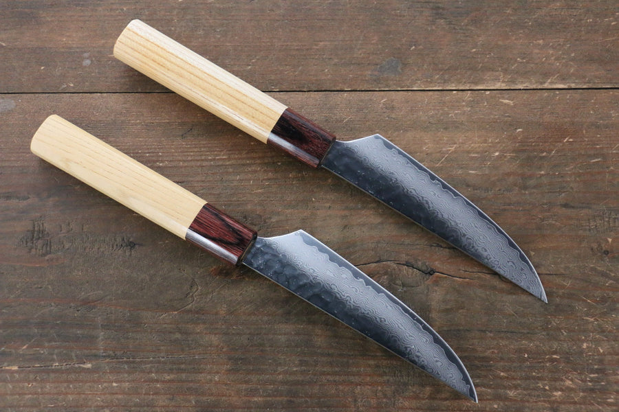 Sakai Takayuki VG10 33 Layer Damascus Steak Japanese Knife 120mm with Keyaki Handle(Japanese Elm)  Two set