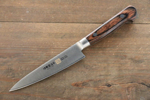 Iseya Molybdenum Steel Petty Japanese Chef Knife 120mm with Mahogany Packer wood Handle (Ferrel : Stainless Steel)