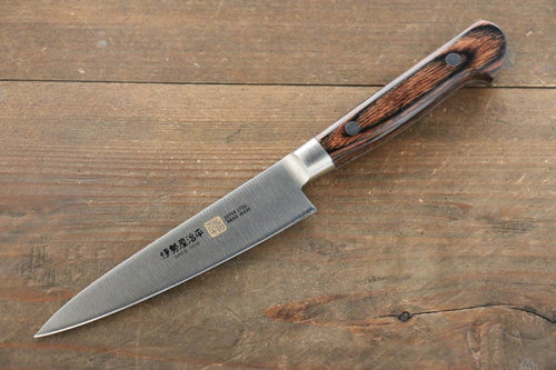 Iseya Molybdenum Steel Petty Japanese Chef Knife 120mm with Mahogany Packer wood Handle (Ferrel : Stainless Steel) - Japanny - Best Japanese Knife