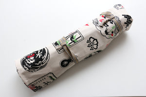 Japanese Style Knife Roll Shirosake-Ura-Shirokamon 7 Pockets
