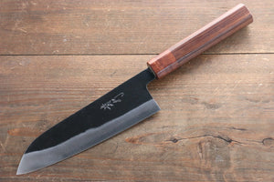Takayuki Iwai Blue Super Kurouchi Santoku Japanese Knife 165mm with Shitan Rosewood Handle (Ferrel Material: Honduras Rosewood)