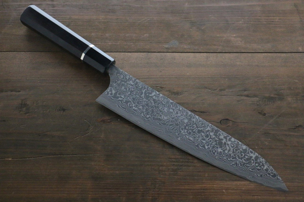 Saji R2/SG2 Black Damascus Gyuto Japanese Chef Knife 210mm with Ebony  handle