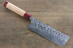 Yu Kurosaki Shizuku R2/SG Hammered Nakiri Japanese Chef Knife 165mm with American Cherry Handle