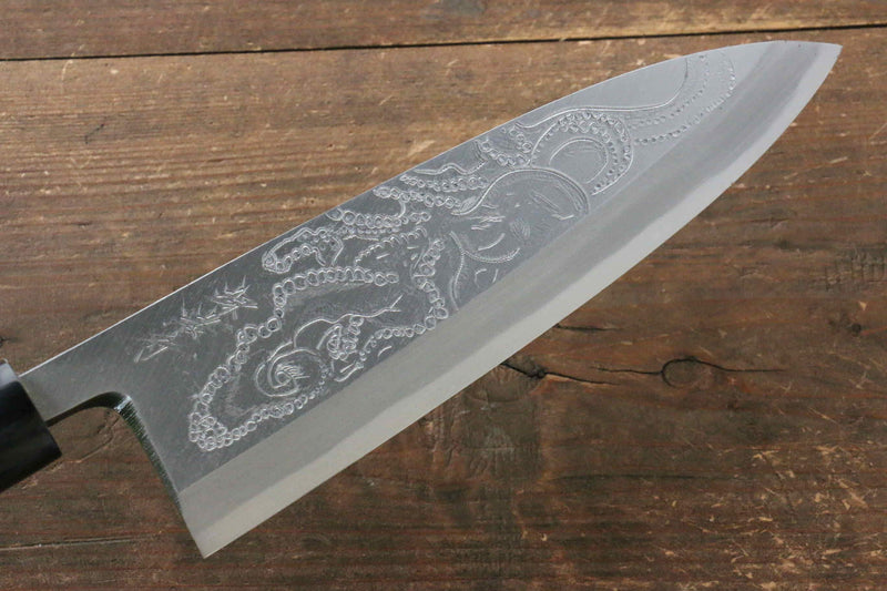 Sakai Takayuki Kasumitogi White Steel Octopus engraving Deba Japanese Knife Magnolia Handle - Japanny - Best Japanese Knife