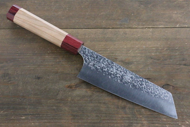 Yu Kurosaki Shizuku R2/SG Hammered Bunka Japanese Chef Knife 165mm with American Cherry Handle - Japanny - Best Japanese Knife
