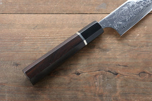 Takeshi Saji R2/SG2 Mirrored Finish Damascus Sujihiki Japanese Knife 270mm with Ebony with Ring Handle