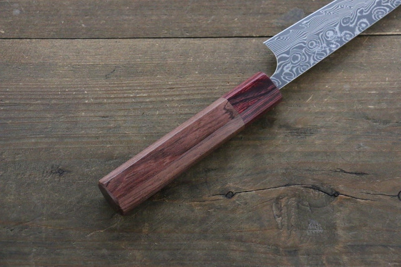Yoshimi Kato R2/SG2 Damascus Petty Japanese Chef Knife 120mm with Honduras Handle - Japanny - Best Japanese Knife
