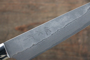 Takeshi Saji VG10 Black Damascus Petty-Utility Japanese Knife 135mm with Black Micarta Handle with Saya