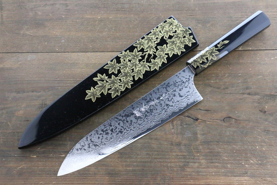 Anryu VG10 Damascus Mirrored Finish Gyuto Japanese Chef Knife 210mm with saya