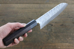 Seisuke Blue Steel No.2 Hammered Damascus Santoku Japanese Chef Knife 180mm