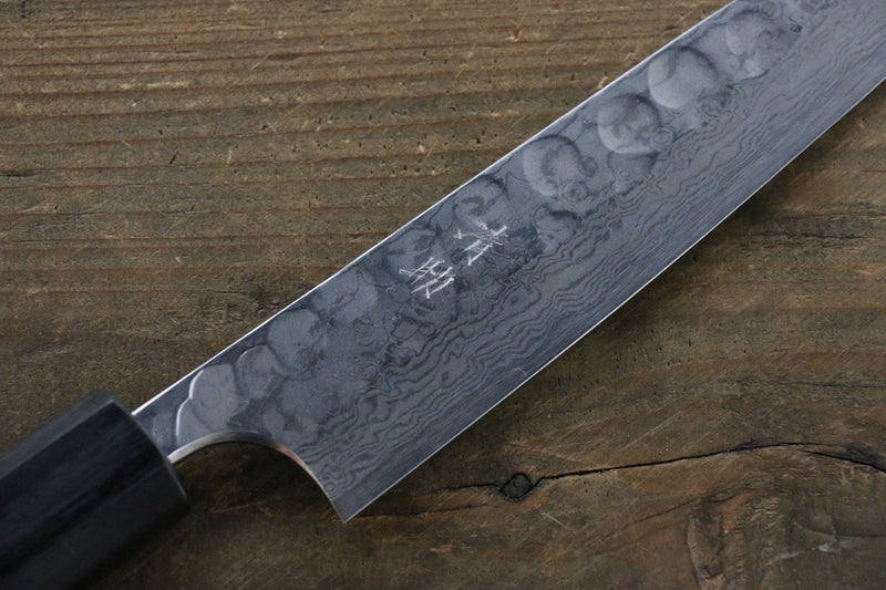 Seisuke Blue Steel No.2 Hammered Damascus Petty Japanese Chef Knife 150mm - Japanny - Best Japanese Knife