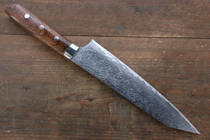 Takeshi Saji R2/SG2 Diamond Finish Damascus Kiritsuke Japanese Knife 210mm with Ironwood Handle - Japanny - Best Japanese Knife